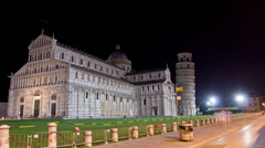Night time lapse in Piazza dei Miracoli. Pisa, Italy. Stock Footage
