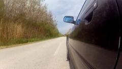 Driving black car pov timelapse. country road, trees on the side, fall, day h Stock Footage
