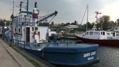 Boats docked in the small port of Tobermory Stock Footage