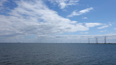 Wind Turbine Park in the Sea Stock Footage