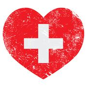 Switerland heart retro flag Piirros