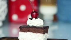 Sprinkle powder sugar on tasty cake, super slow motion, shot at 240fps HD Stock Footage