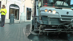 A street sweeper vehicle Stock Footage