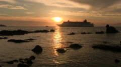 Passenger liner in the sea at sunset Stock Footage