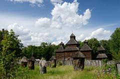 resurrection wooden church with apiary from poltavshina region ,ukraine - stock photo