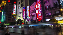 Shanghai Time Lapse of Nan Jing shopping street - stock footage