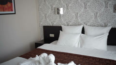 Beautiful double bed in the hotel Stock Footage