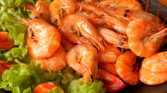 Cooked Tiger Prawns served on the Plate with Vegetables. Video Pack. Stock Footage