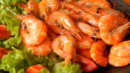 Stock Video Footage of Cooked Tiger Prawns served on the Plate with Vegetables. Video Pack.