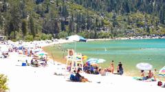 Summer Fun Lake Tahoe Sand Harbor Beach Stock Footage