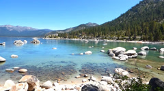 Blue Water, Rocky Shore Lake Tahoe Stock Footage