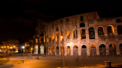 The Colosseum Night Time Lapse. Stock Footage