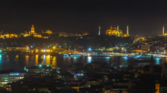 Pan of Istanbul View and Bosphorus Stock Footage