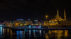Stunning night view of New Mosque & Bosphorus Stock Footage