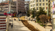 Stock Video Footage of Istanbul, Turkey View Pedestrians and worksite