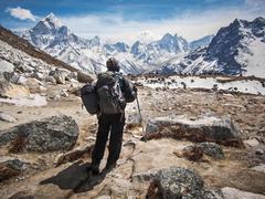 Trekker Walking the Everest Base Camp Trek, Everest Region, Nepal Stock Photos