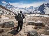 Stock Photo of Trekker Walking the Everest Base Camp Trek, Everest Region, Nepal