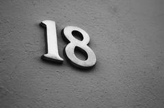 house number 18 - stock photo