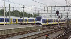 Multiple SLT slow trains waiting for the next shift Stock Footage