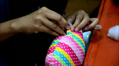Thai woman Needlework or sewing cotton owl doll pillow Stock Footage