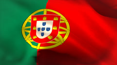 Digitally generated portugal flag waving - stock footage