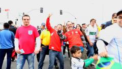 Chile Fans screams and shows the pride of being Chilean in 2014 World Cup Stock Footage