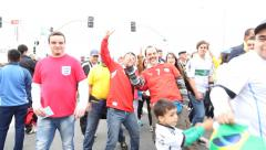 Supporters walk to the match Uruguay x England in 2014 World Cup Stock Footage