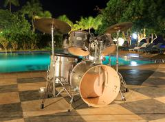 musical drums on outdoor music stage - stock photo