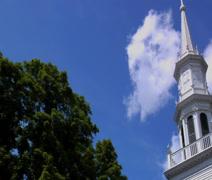 Classic NE steeple pan Stock Footage