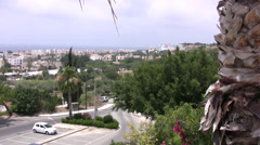 Paphos distant view of coast from high vantage point - stock footage