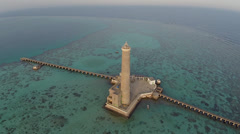 aerial shot of lighthouse on coral reef - Sanganeb, Sudan, TWO CLIP IN ONE! - stock footage