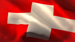 Digitally generated swiss flag waving - stock footage