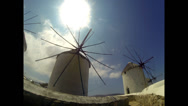 Stock Video Footage of Famous Greek Windmills of Mykonos Island in Greece