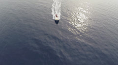 Aerial view of speedy motorboat - scuba diver zodiac Stock Footage