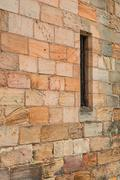Ancient Wall Narrow Window, Fortification - stock photo