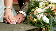Wedding Couple, Hands of bride and bridgroom - stock footage