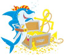 pirate shark with a treasure chest - stock illustration