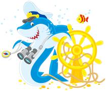shark captain - stock illustration