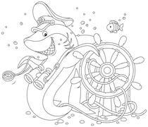 Shark captain Stock Illustration