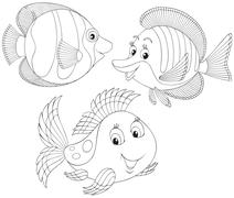 Coral fishes - stock illustration