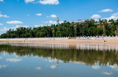 the ural river is the natural boundary between europe and asia - stock photo
