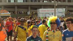 Fans leaving stadium after soccer game Colombia against Ivory Coast in World Cup Stock Footage