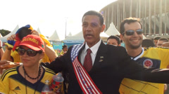 Barack Obama's cover celebrating with colombians fans Stock Footage