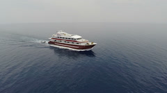 Aerial shot of floating yacht, motorboat on sea - TWO CLIP IN ONE! Stock Footage