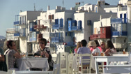 Stock Video Footage of Tourists in tavern of Mykonos Island in Greece