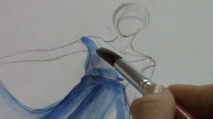 Fashion designer drawing and paint Stock Footage