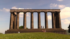 The Scottish National Monument Time Lapse People Stock Footage