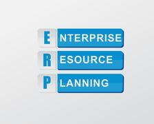 Erp in blue blocks, flat design Stock Illustration