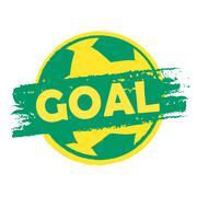goal over soccer ball in brazilian colors, drawn banner - stock illustration