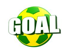 3d goal over soccer ball in brazilian colors Stock Illustration